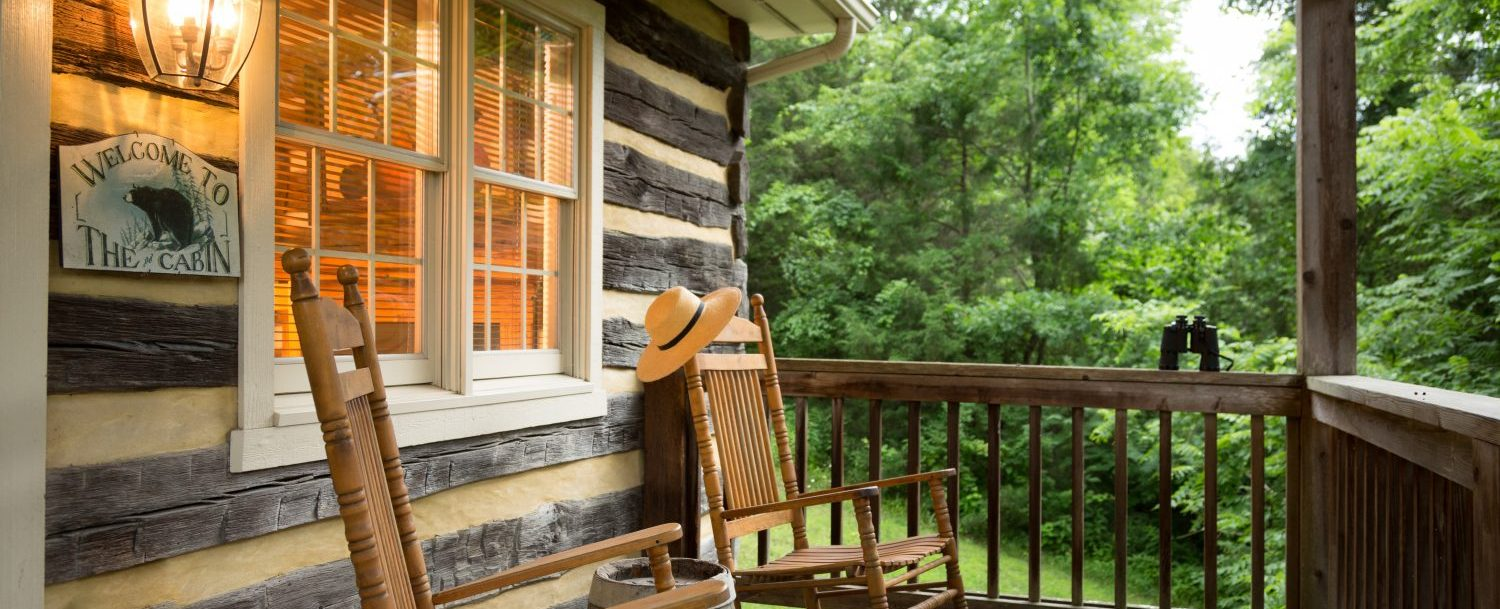 Cabin by the Pond | Porch with two rocking chairs
